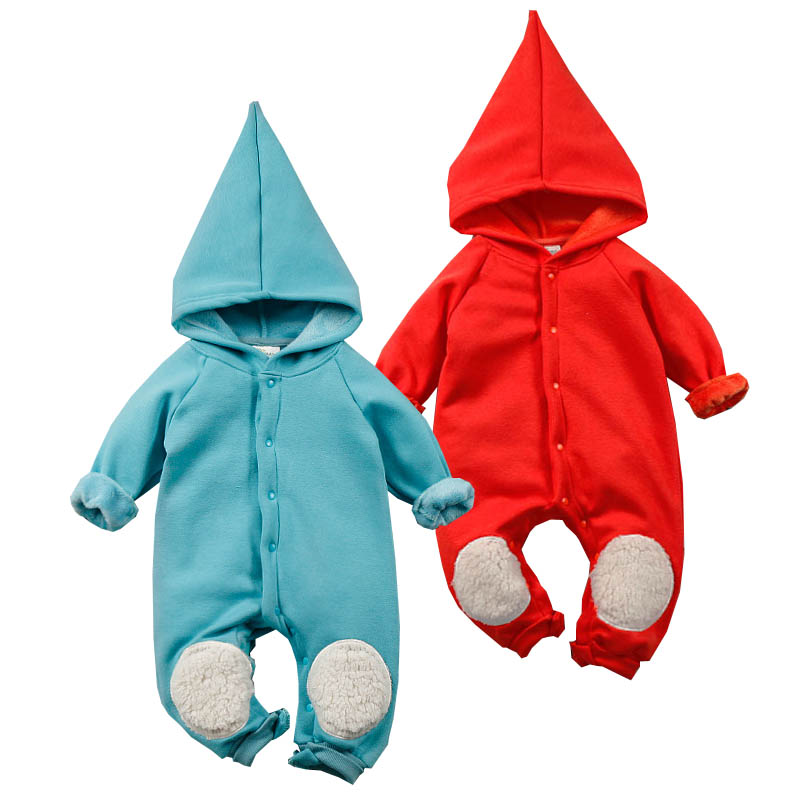 Winter Baby Hooded Rompers Cotton Fleece Long Sleeve Baby Clothes Fleece Boys Girls Rompers Newborn Jumpsuits Kneepad Outfits cotton baby rompers set newborn clothes baby clothing boys girls cartoon jumpsuits long sleeve overalls coveralls autumn winter