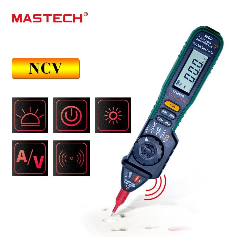 MASTECH Multimetro MS8212A Pen type Multimetro Digitale DC AC Tensione Corrente Tester Diode Continuità Logica Tensione Senza contatto