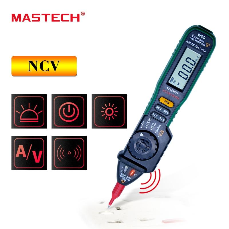 MASTECH ms8212a Ручка Тип Цифровой мультиметр multimetro AC DC Напряжение ток тестер диодов непрерывность логика Бесконтактный Напряжение