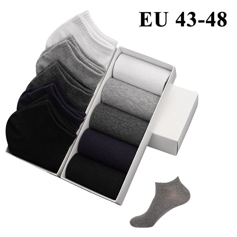 5 Pairs Men's Ankle Socks Calcetines Sox Meias Cotton Comfort Plus Large Big Size 44,45,46,47,48 Business Casual Sock Male Socks