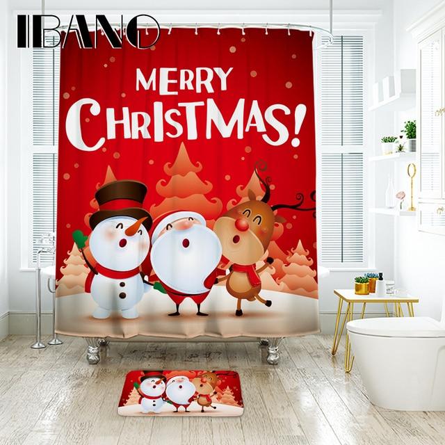 IBANO Nuovo Natale Tenda Della Doccia Poliestere Impermeabile Tessuto Tenda Per