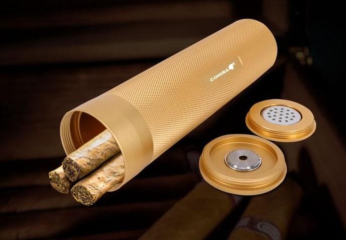 COHIBA MINI Gadgets Golden&Black&Silver Travel Aluminium Alloy Cigar Tube Portable Jar Metal Humidor W/ Humidifier Hygrometer