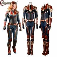 Cosplaydiy Captain Marvel Cosplay Ms. Marvel Carol Danvers Costume Jumpsuit Outfit Halloween Adult Women Full Set Custom Made
