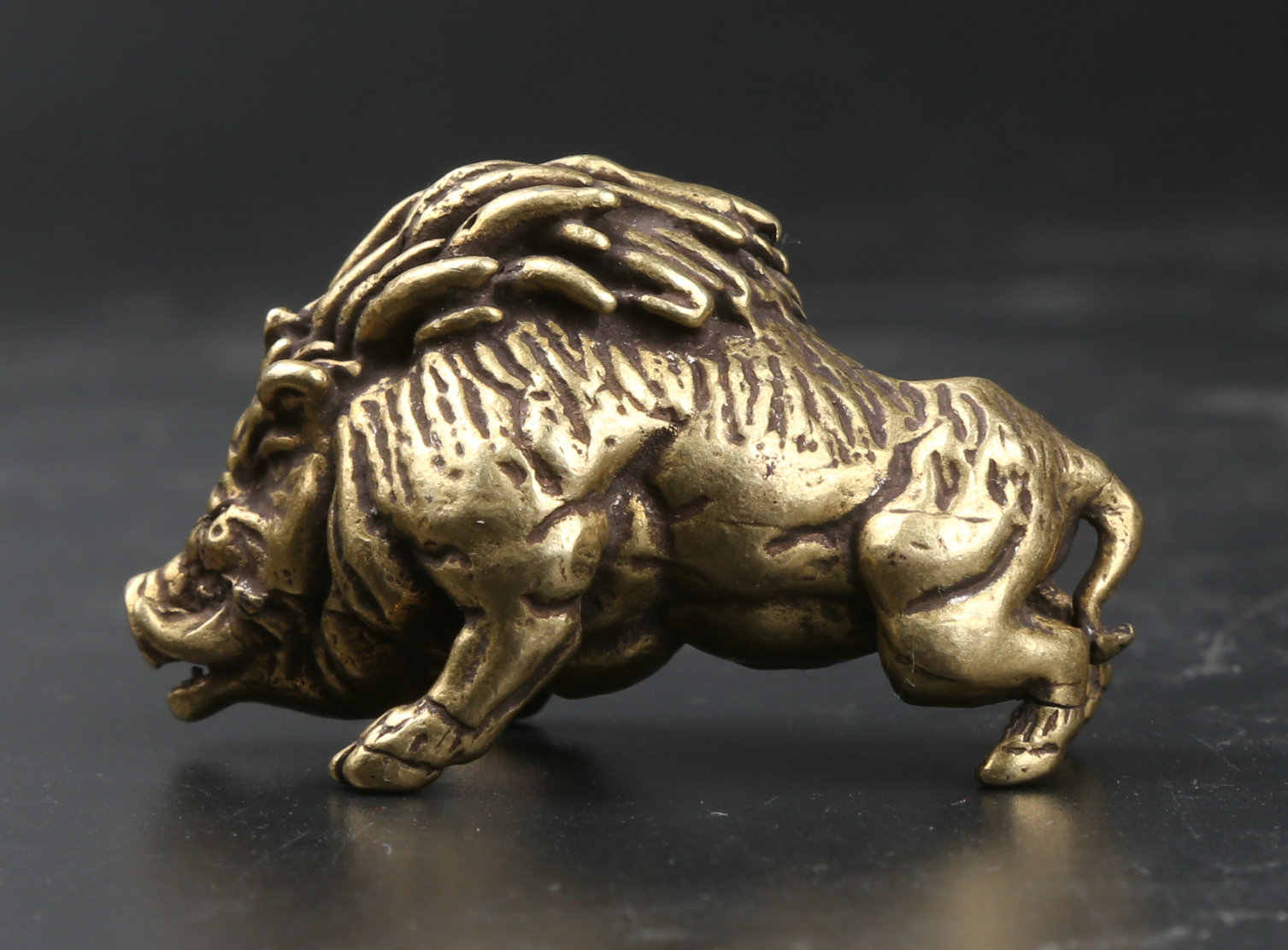 41MM Curio China Small Bronze Exquisite Animal Boar Wild Boar Sus Scrofa Statue