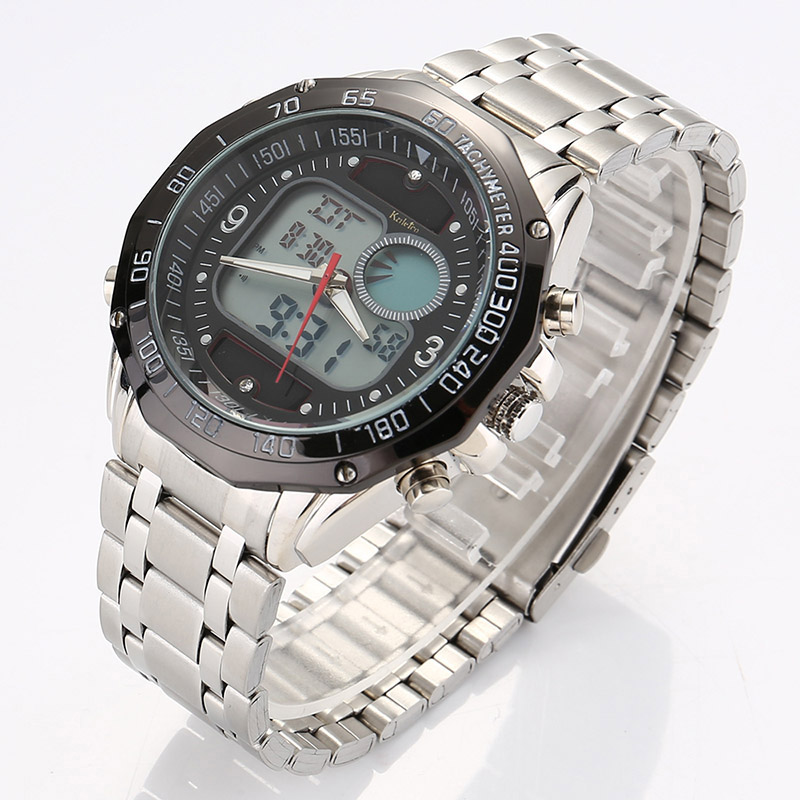 Dual Display Men's Wristwatch Most Popular Colors Sports Solar Energy Movement Steel Strap Quartz Wrist Watch For Birthday Gift