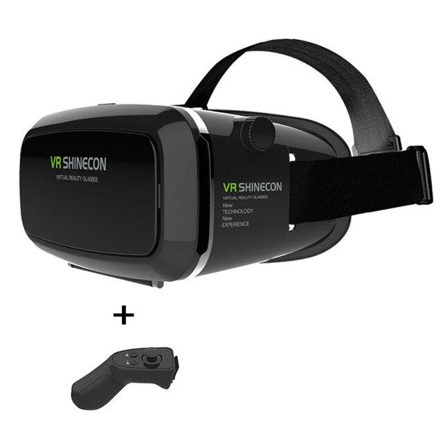 Google Картон VR shinecon Pro Версия VR Виртуальная Реальность 3D Очки Для 4-6 ''Phone + Smart Bluetooth для Беспроводной пульт дистанционного Управления