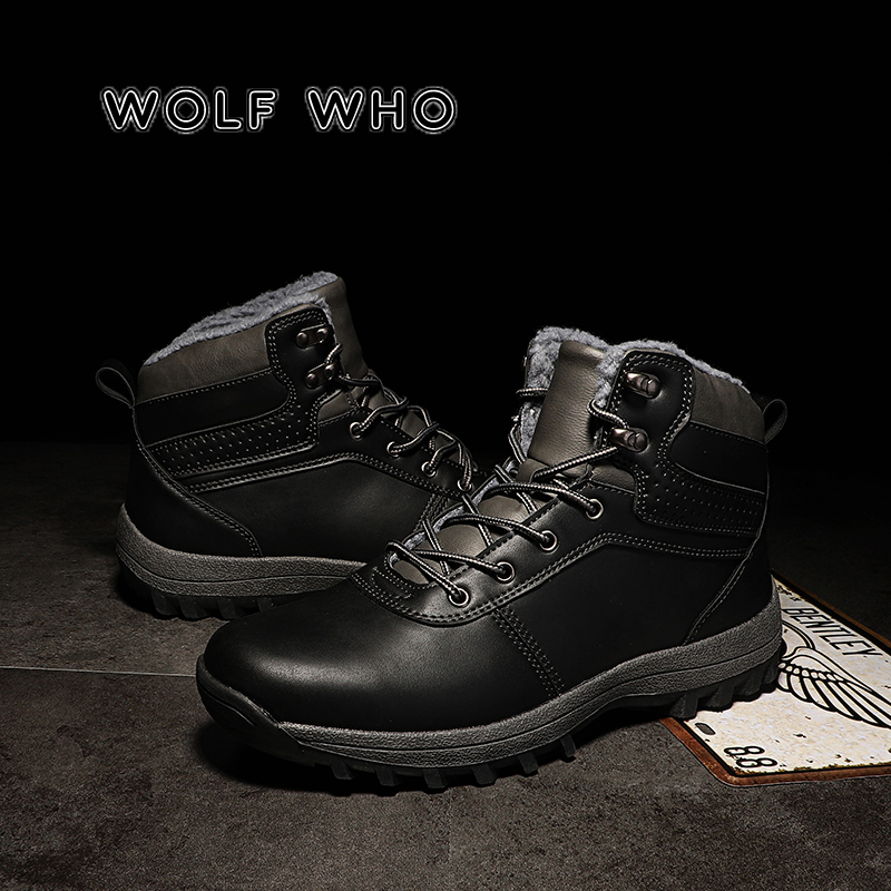 WOLF WHO Men Boots Big Size 39-47 Male Winter Boots Lace Up Casual Ankle Snow Boots Fashion Sneakers Work Shoe buty meskie X-083