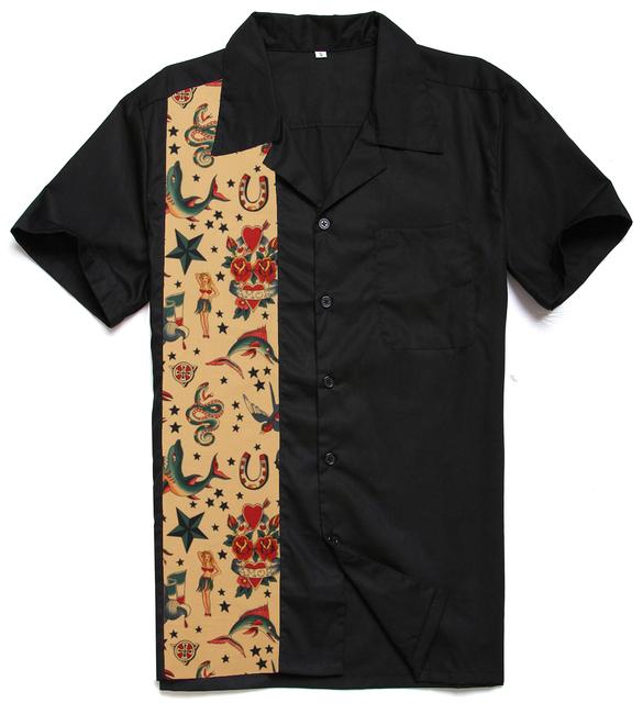 2017 projetos novos da novidade tatuagem impressão hiphop masculino marca top algodão rockabilly vintage 40 s club americano plus size xxl camisas