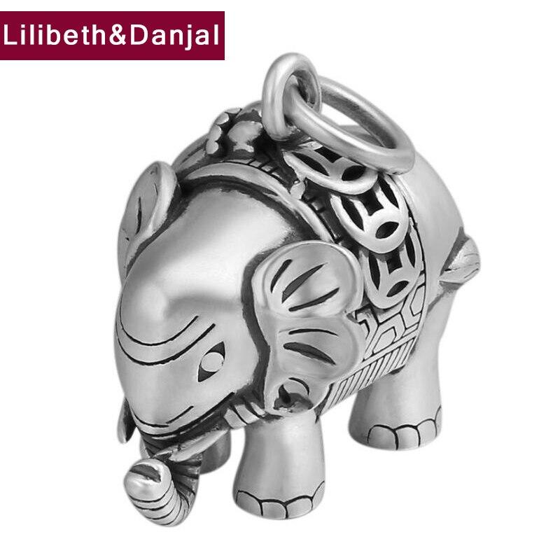 2019 pendentif Initial 100% S990 bijoux en argent Sterling hommes femmes sac à main éléphant meilleur ami collier pendentif fabrication de bijoux P26