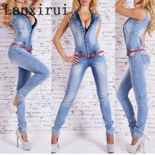 New Arrival Sleeveless Jumpsuit Jeans Sexy Bodysuit Women Denim Overalls Rompers Girls Pants Jeans Ladies 2017 new summer sleeveless rompers men overalls black collapse pants suspenders jeans one piece trousers singer costumes pants