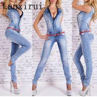 New Arrival Sleeveless Jumpsuit Jeans Sexy Bodysuit Women Denim Overalls Rompers Girls Pants Jeans Ladies