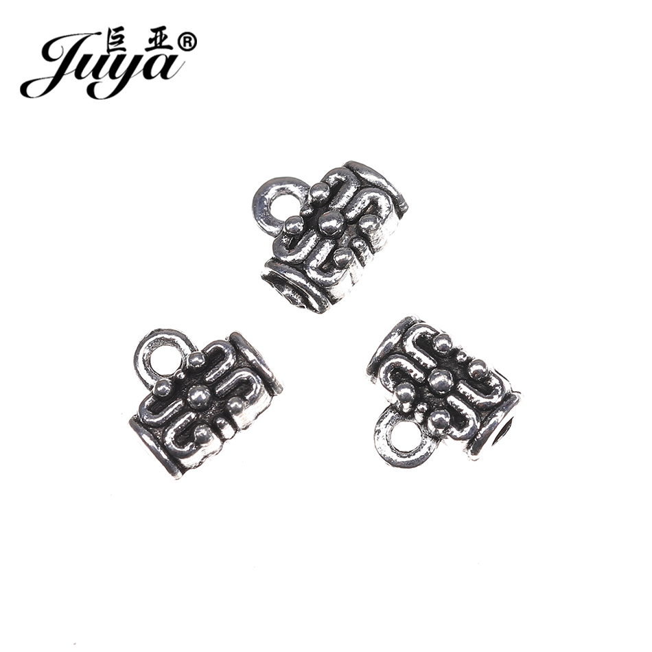 JUYA Cheap Pendant Clasp Necklace Connector 7x7mm 50pcs/lot Bail Beads Vintage Charm Jewelry Connectors For DIY Bracelet DA0009