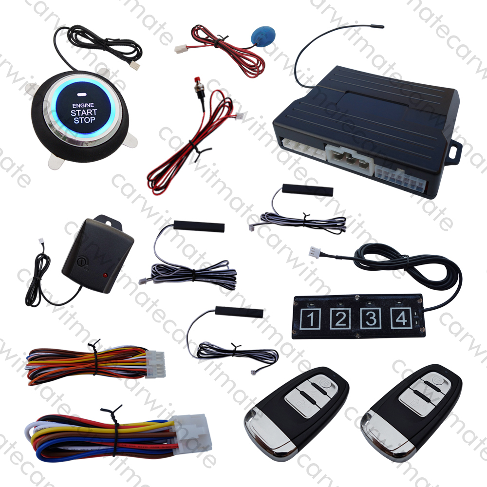 Universal PKE Car Alarm System Passive Keyless Entry Push Start Remote Start Stop Engine ...