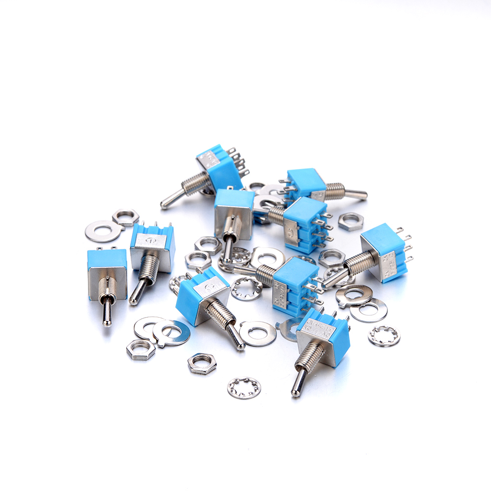 Hot New 10Pcs A Lot MTS-202 ON-ON Toggle Switch 6PIN 6A 125V Blue Toggle Switch for controlling the circuits of AC/DV 32x13x13mm 2pcs yt2122 15a 250vac 6pin on on e ten1321 toggle switch rocker switch the power switch free shipping micro switch