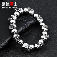 Steel Soldier Stainless Steel Men Personality Jewerly New Arrival 2017 High Quality Punk Fashion Skull Bracelet