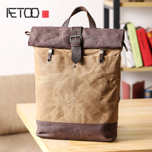 купить AETOO Shoulder bag men's canvas retro casual outdoor travel bag young students large capacity waterproof backpack по цене 3885.19 рублей