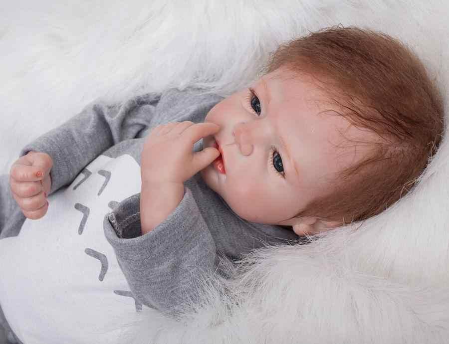 "22 ""55 cm בעבודת יד כמו בחיים תינוק סיליקון ויניל ילד ילדה bebe Reborn פעוטות יילוד בובות"