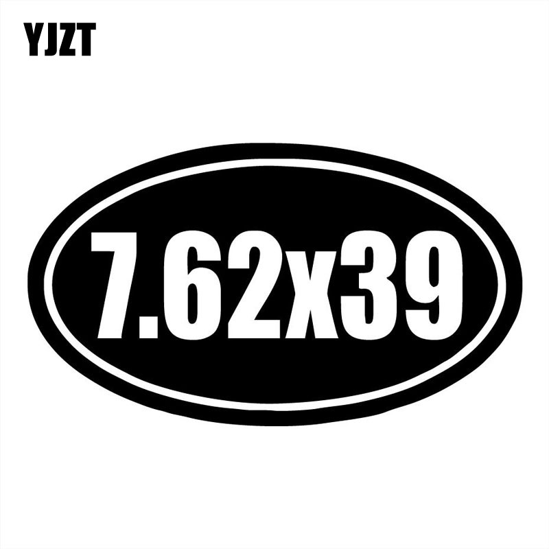 YJZT 15.3x9CM 7.62X39 Interesing GUN Vinyl Decals Car Sticker Black/Silver S8-0077