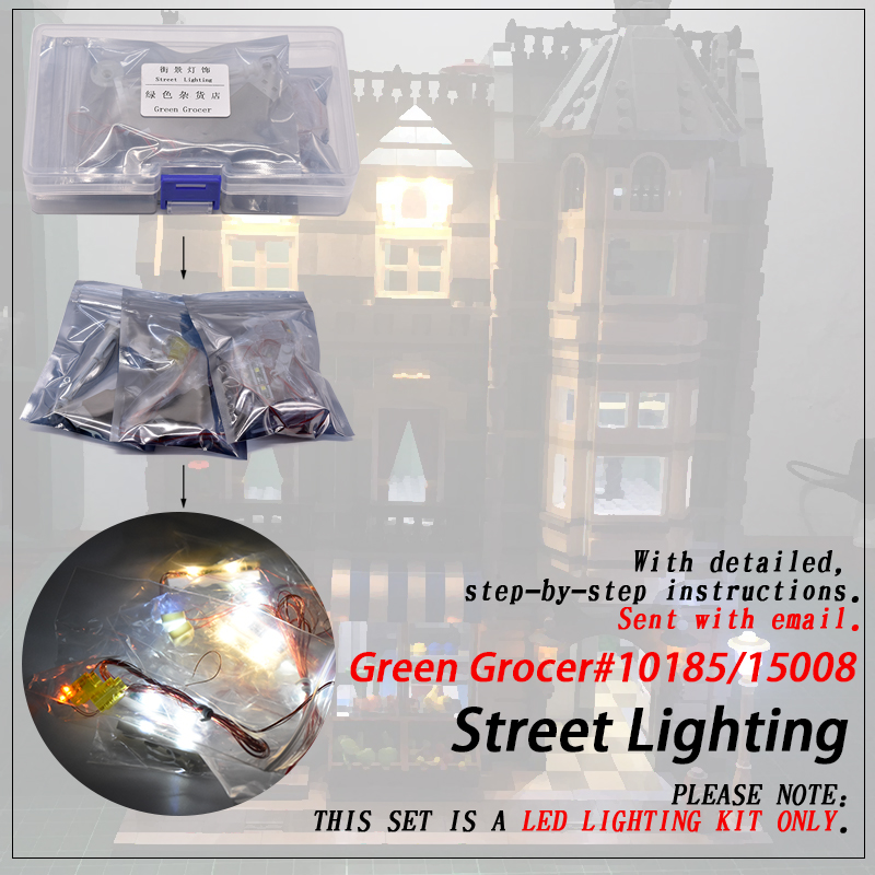 Led Light Set (only light included ) For 10185 Green <font><b>Grocer</b></font> Compatible <font><b>15008</b></font> Streetview Creator Building Blocks Bricks image