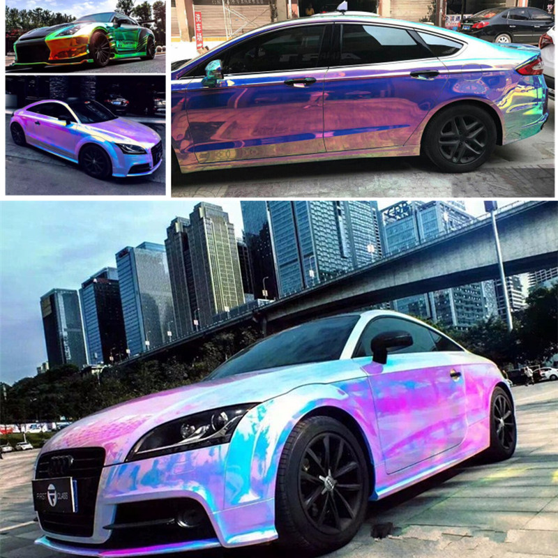 OPLARE 135CM*20M/Lot New arrival rainbow holographic chrome film Glossy Mirror Rainbow Holographic Film Rainbow  import glue 100sheets lot new a4 size white blank glossy