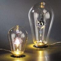 Big LED Bulb table Light Blow clear glass bar coffee shop fashion bedroom bedside table lamp hone lighting H26/42cm lamp ZA