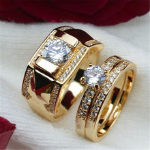 FUNIQUE Couple Lover Romantic Wedding Cubic Zirconia Rings For Women Men Gold Copper Couple Rings Engagement Jewelry Bijoux Ring(China)