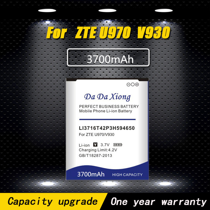 Da Da Xiong 3700mAh LI3716T42P3h594650 <font><b>Battery</b></font> for <font><b>ZTE</b></font> U970 v807 V930 U930 N970 <font><b>V970</b></font> V889S V889M U795 phone <font><b>battery</b></font> image
