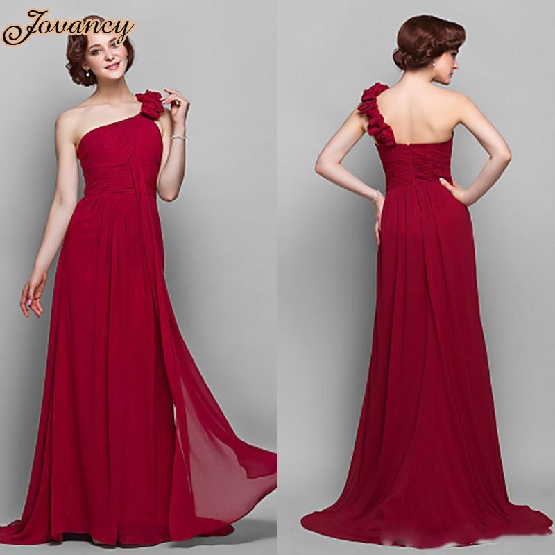c565c71b7 Elegante vestido de fiesta largo drapeado de gasa rojo oscuro flor de un  hombro dama de honor 2015 en Vestidos de dama de honor de Bodas y eventos  en ...