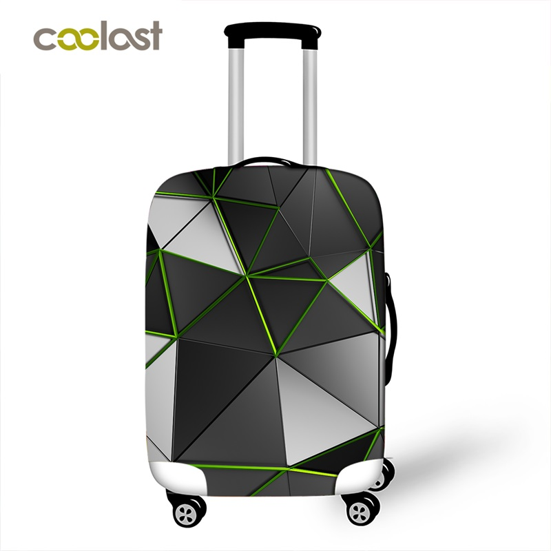 Geometric Travel Bag Cover Dust-proof Suitcase Protective Cover Pink Trolly Luggage Case Protector Portable Travel Accessories