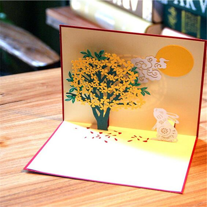 new 5pcs 3d pop up paper laser cut greeting card tree and