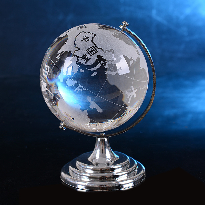 2017 Clear World Globe Model Glass Ball Figurine Table Stand Ornaments Home Decoration para Kids TOY Students gift Glass Craft