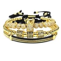 Nine forever jewelry crown charms men couple Bracelet Macrame beads Bracelets for women pulseira masculina pulseira feminina