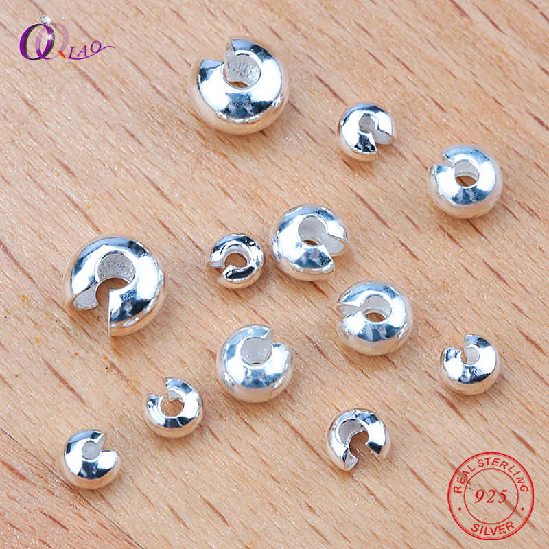 3/4/5mm 925 sterling silver Crimp 925 silver Clasps Wrapped Cord Buckle Connectors Fit bracelet necklace For Jewelry Making 5pcs