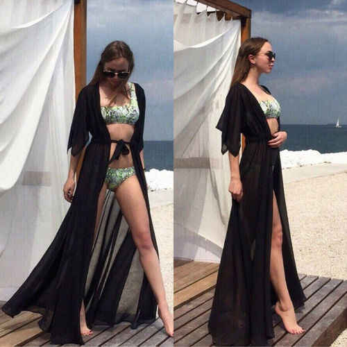 0dcf1a077ca71 ... Women Mesh Beach Bathing Suit Cardigan Bikini Swimwear Cover Up Long  Maxi Dress Pure Color Sexy ...