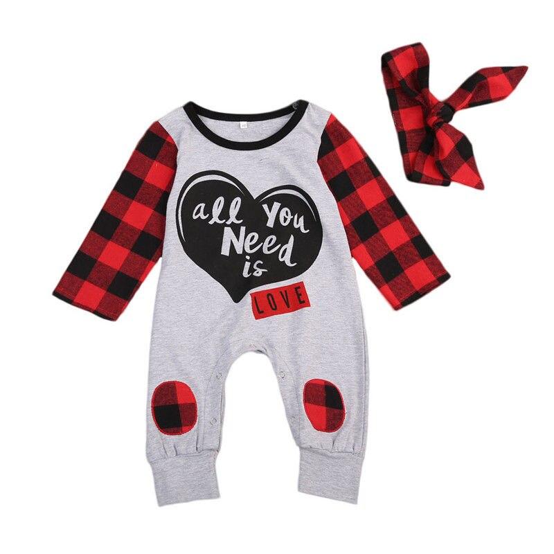 2017 Red Plaid Neugeborenes Baby Mädchen Kleidung Langarm Herz Print Romper Overall + Stirnband 2 StÜcke Overall Kinder Kleidung 0-24 Mt Aromatischer Geschmack