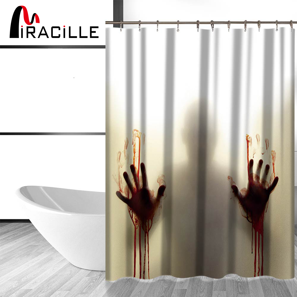 Miracille Blood Hand Shadow Printed Waterproof Polyester Shower Curtain  Bloody Bath Curtain Washroom Decor 180x180cm 150x180cm