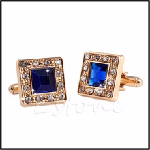 Men's Blue & Gold Crystal Square Wedding Shirt Cuff Links Cufflinks Party Gift T15
