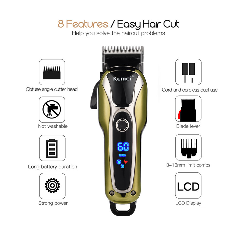 110-240V Kemei Powful Motor Rechargeable Hair Trimmer Professional Clipper Stainless Steel Blade Shaving Electric Haircut Tool rechargeable hair clipper with accessories set 220 240v ac