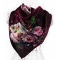 [SLKSCF] 86X86CM Fashion satin silk scarf flower print square silk scarves hand rolled hem real silk handkerchief pashmina lady