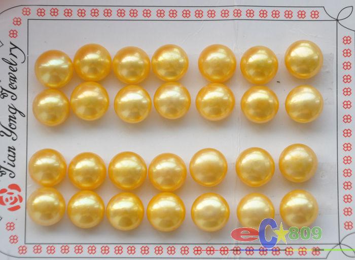 Vente chaude> vente Chaude Livraison Gratuite 14 PCS>>>> En Gros 14 paire 12 MM D'OR RONDE PERLE D'EAU DOUCE BOUCLE D'OREILLE-mariée bijoux livraison s