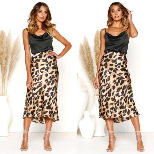 7c830c9a64 Women High Waist Long Pencil Skirt Slim Bodycon Midi Skirt Leopard Print  Skirt Summer Fashion Women