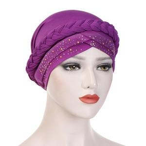 Image 1 - בוהמיה סגנון נשים טורבן כובע אופנה צמת קשר גברת ראש צעיף חיג אב המוסלמי הפנימי חיג אב עבור נשים שיער אביזרי שיער אובדן