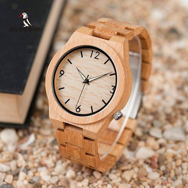 Relogio masculino BOBO BIRD นาฬิกาไม้ชายแบรนด์หรูไม้นาฬิกาชายของขวัญ Drop Shipping W D27