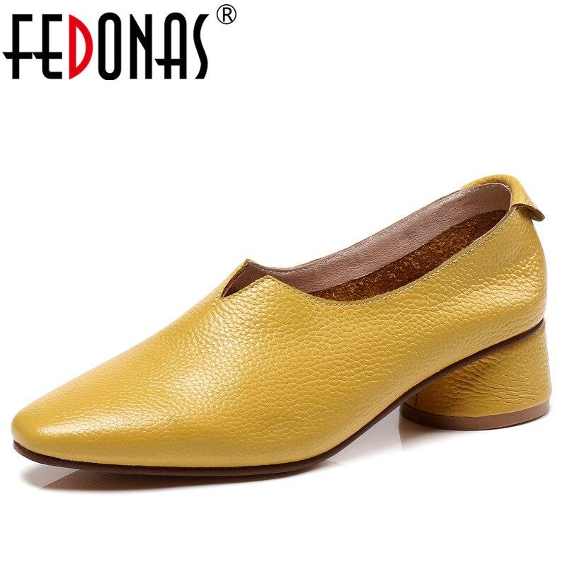 FEDONAS 1New Arrivée Femmes De Base Pompes Printemps Automne En Cuir Véritable talons hauts chaussures pour femme Bout Rond Marque Conception Peu Profonde Pompes