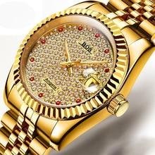 ANGELA BOS hombres de Lujo Del Diamante Reloj de Maquinaria Automática de Los Hombres de Zafiro Resplandor de Oro Reloj del Negocio de Los Hombres