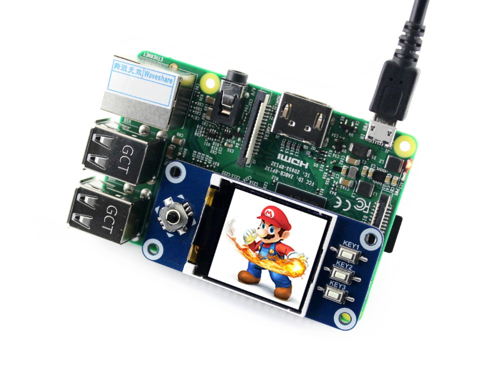 Waveshare 1.44 inch LCD Display HAT for Raspberry Pi 2B/3B/3B+/Zero/Zero W 128x128 pixels SPI Interface LED Backlight цена
