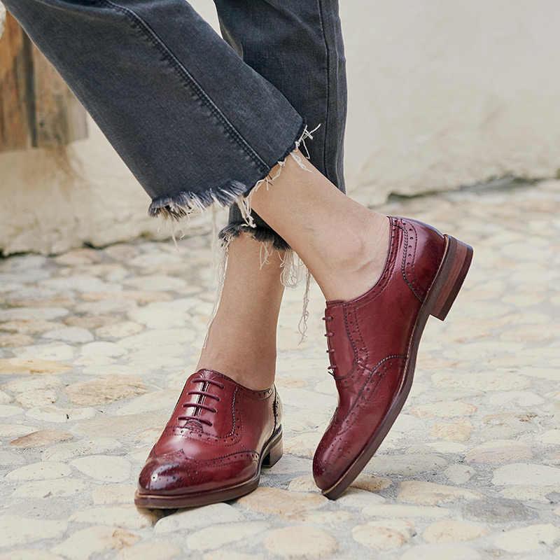 BeauToday/женские оксфорды из натуральной телячьей кожи на плоской подошве со шнуровкой и острым носком; женская обувь с перфорацией типа «броги» ручной работы; 21094