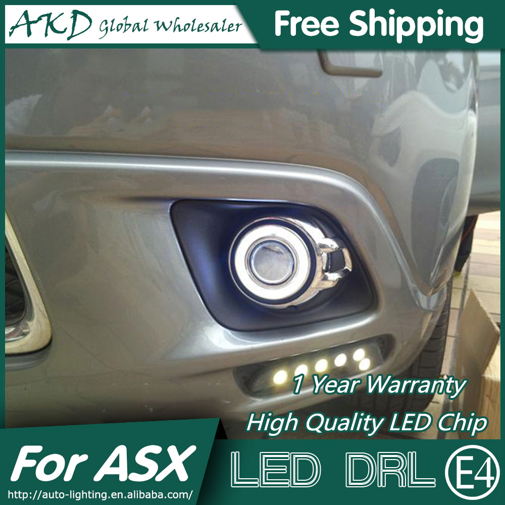 AKD Car Styling COB Angel Eye Fog Lamp for Mitsubishi ASX LED DRL 2010-2012 Daytime Running Fog Light Automobile Accessories cdx car styling angel eyes fog light for asx 2013 year led fog lamp led angel eyes led fog lamp accessories