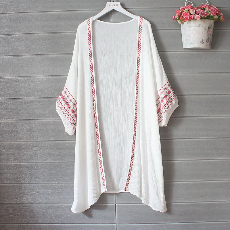 Embroidery Cardigan Women Beach Kimono Long Cardigan Summer Ethnic White Shirt Linen Tops Korean Clothes Tunic Vintage Modis New