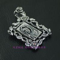 Retro 925 sterling silver Thai silver photo frame pendants Man's silver pendants